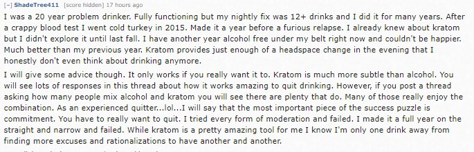 kratom alcohol withdrawal story